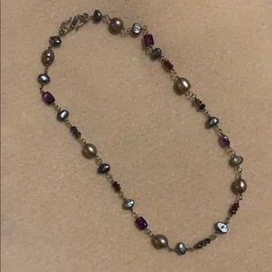 Purple/blue semiprecious stone necklace
